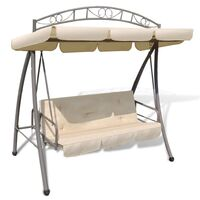 Canopy Outdoor Swing Chair Sunbed Sand White w Arch