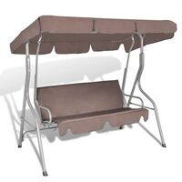 Canopy Outdoor Swing Chair 3 Person Sunbed Coffee