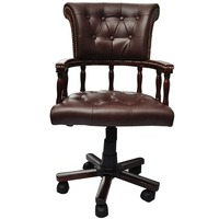 Chesterfield Captain's Swivel Desk Chair in Brown