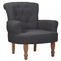 French Fabric Armchair w/ Padded Backrest in Grey