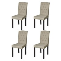 4x High Back Fabric Upholstered Dining Chairs Beige