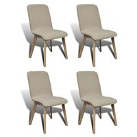 4x Fabric Dining Chairs w/ Oak Frame in Light Grey