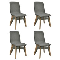 4x Fabric Dining Chairs w/ Oak Frame in Dark Grey