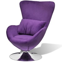 Small Swivel Egg Chair with Seat Cushion in Purple