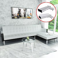 L-Shaped Faux Leather Corner Sofa Bed in White
