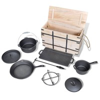 9 Piece Cast Iron Dutch Oven Set with Wooden Box