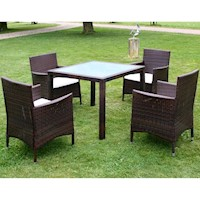 5 Piece Outdoor Wicker Dining Set w Glass Top Brown