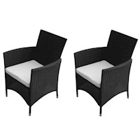 2x Wicker Outdoor Chairs w/ Seat Cushions in Black