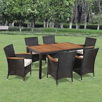 7pc Wicker Outdoor Dining Set w/ Wooden Table Top
