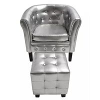 Faux Leather Chesterfield Armchair w Ottoman Silver