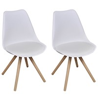 2x Eames Inspired Faux Leather Dining Chairs White