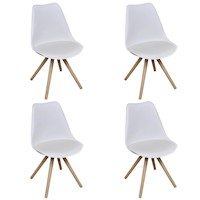 4x Eames Inspired Faux Leather Dining Chairs White