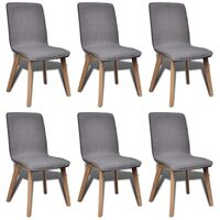 6x Fabric Upholstered Oak Dining Chairs Dark Grey