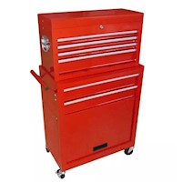 7 Drawer Steel Roller Trolley Tool Box in Red