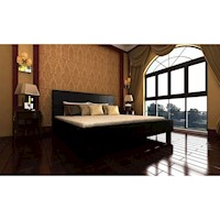 Double PU Leather Upholstered Bed Frame in Black
