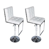 2x Grid Button Faux Leather Bar Stools w Rest White