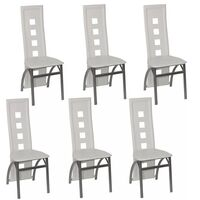 6x White Faux Leather Dining Chairs w/ Steel Frame
