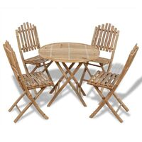 Folding Bamboo Wood 4 Person Outdoor Dining Set