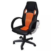 Faux Leather Executive Office Chair Black & Orange