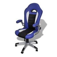 Racing Faux Leather Office Chair in Blue and Black