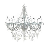 12 Light Glass Chandelier w/ 1600 Crystals in White