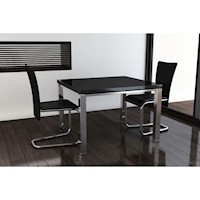 2x Faux Leather Dining Chairs w Chrome Legs - Black