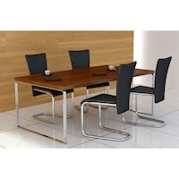 4x Faux Leather Dining Chairs w Chrome Legs - Black