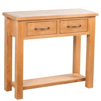 2 Drawer Oak Wood Console Hallway Table in Brown