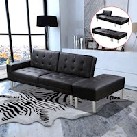 Modern Faux Leather Sofa Bed with Ottoman in Black