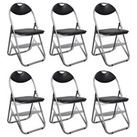 6x Steel & Faux Leather Folding Visitor Chair Black