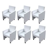 6x Faux Leather Dining Armchair w/ Castors in White