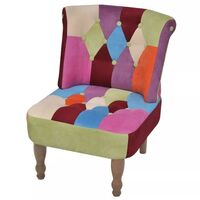 French Fabric Occasional Lounge Chair in Patchwork