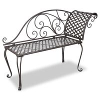 Scroll Outdoor Iron Metal Garden Bench Lounge 128cm