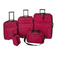 5pc Nylon Fabric Travel Bag and Luggage Set in Red