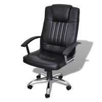 Leather Mix Fabric Ergonomic Office Chair in Black