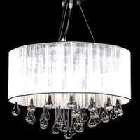 Chrome Glass 3 Light 85 Crystal Chandelier in White