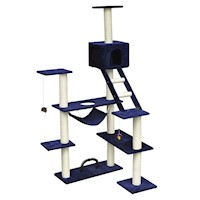 Soft Plush Cat Scratching Post Tree Dark Blue 184cm