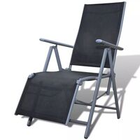 Textilene Adjustable Outdoor Chair Lounge in Black