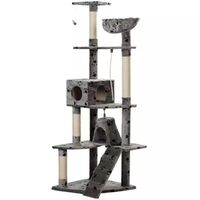 Cat Scratching Post Tree in Grey Paw Print 191cm