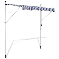 Outdoor Manual Retractable Awning Blue White 250cm