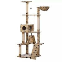 Cat Scratching Post Tree in Beige Paw Print 191cm