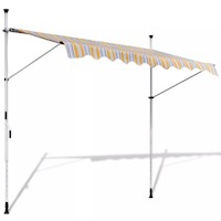 Outdoor Manual Retractable Awning Yellow Blue 250cm