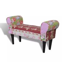 Floral Fabric Upholstered Bench in Patchwork 100cm