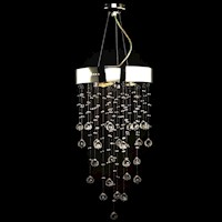 3 Light Metal Chandelier w/ 180 Crystals in Silver
