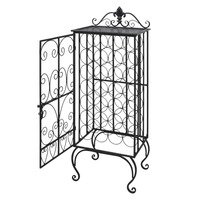 28 Bottle Freestanding Metal Wine Rack in Black