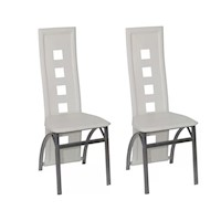 2x High Back Faux Leather Dining Chairs in White