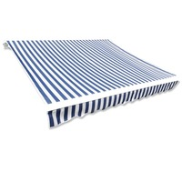 Outdoor Canvas Awning Top Sun Shade in Blue & White