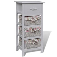 MDF Wood Storage Cabinet with 1 Drawer & 3 Baskets