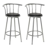 2x Steel & Faux Leather Gated Bar Stool Black 99cm