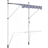 Outdoor Manual Retractable Awning Blue White 150cm